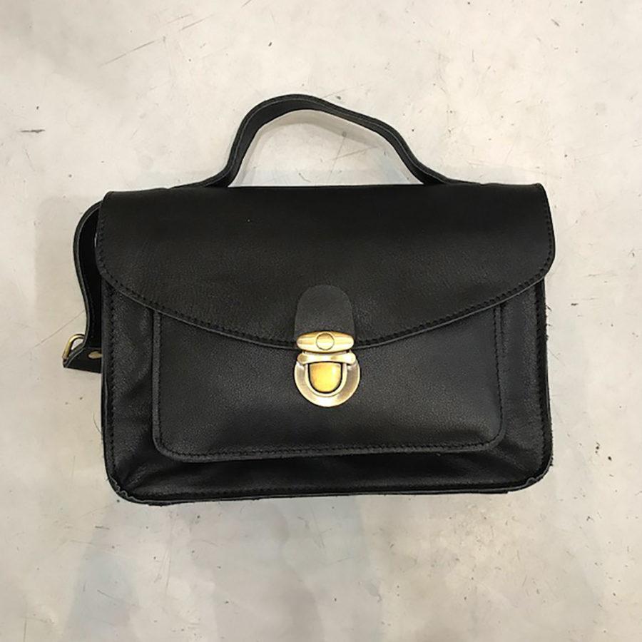 sac malette cuir noir