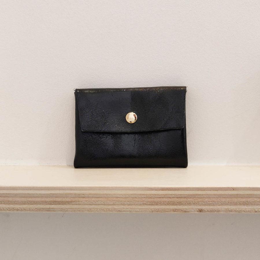 Porte monnaie double shine noir Royal Marais