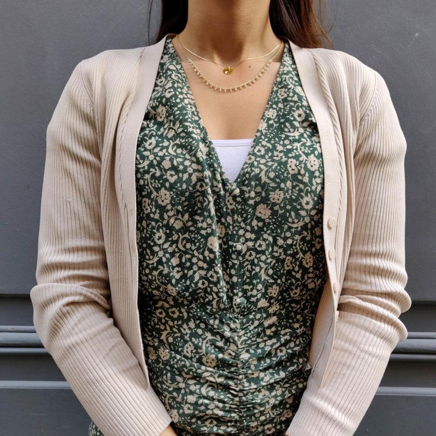 collier double plaqué or feuille