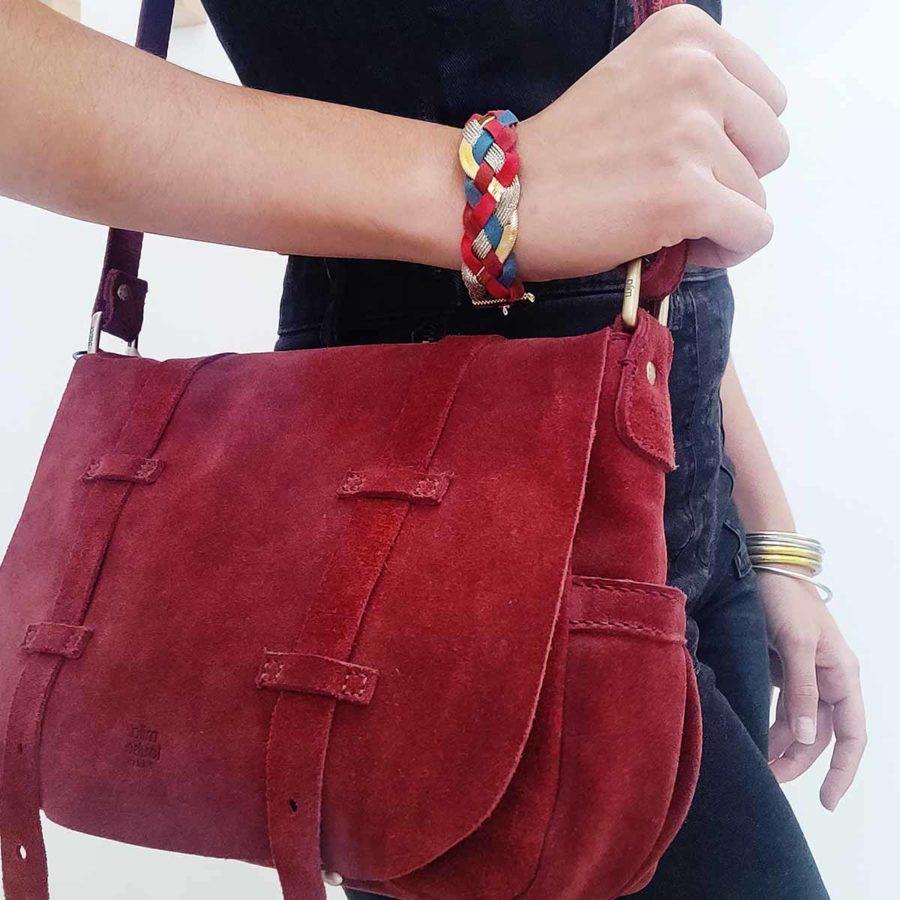 Bracelet large tressé Ginger l'heure d'été rouge canard