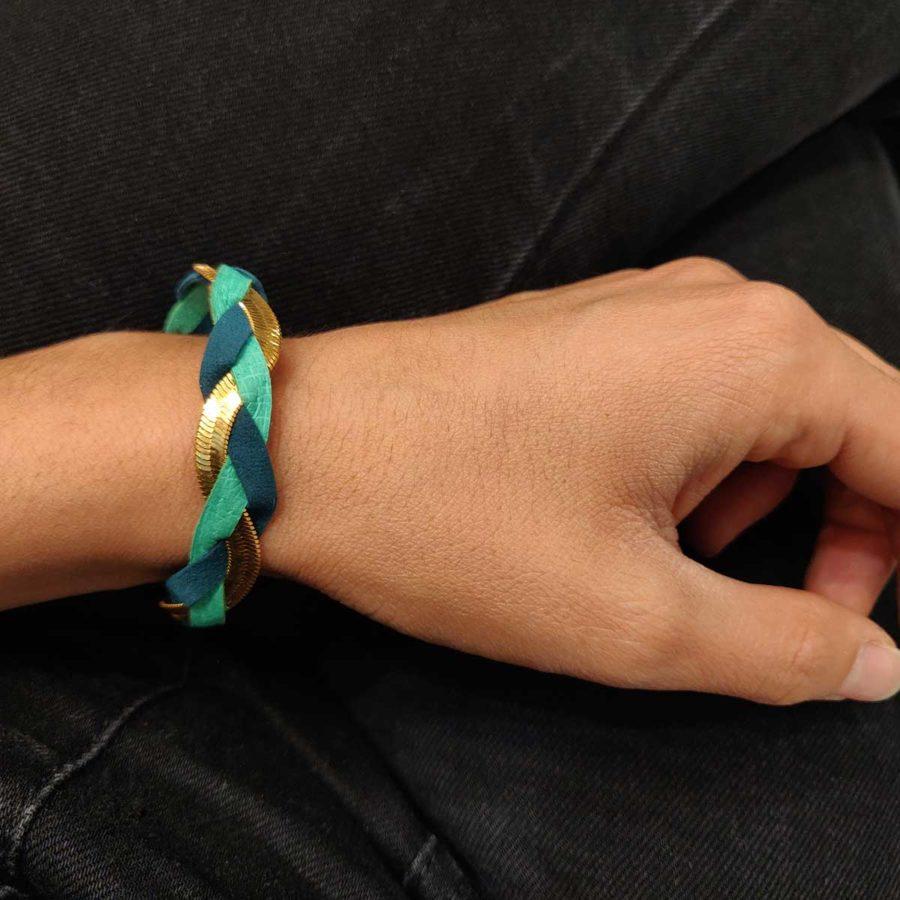 Bracelet tressé fin ginger pétrole vert l'heure d'été