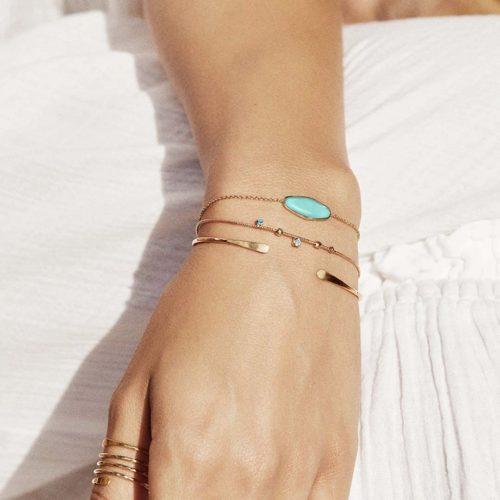 bracelet pierre turquoise doré