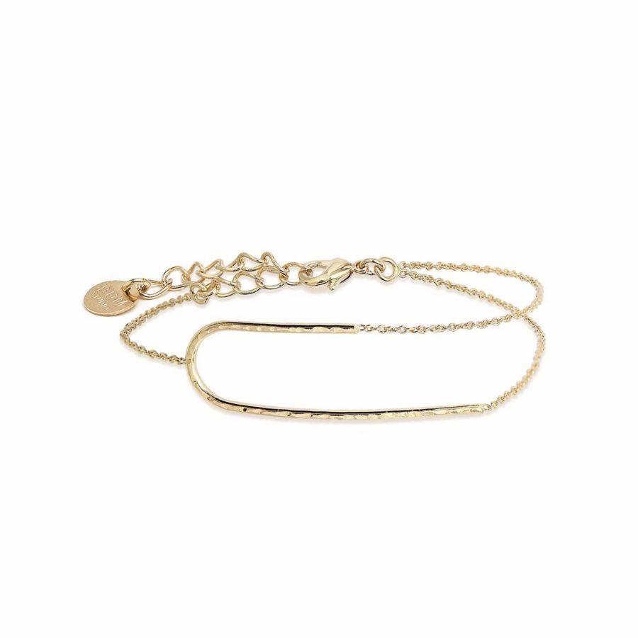bracelet dore chaine rigide createur