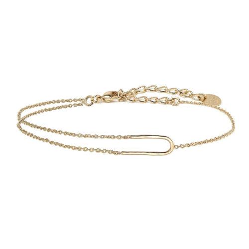 bracelet U rigide et chaine doré