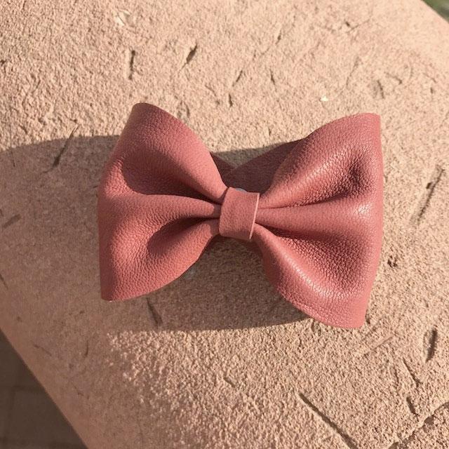 bracelet noeud rose cuir
