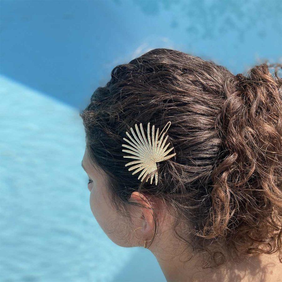 bijou de cheveux feuille or