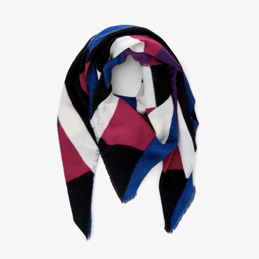 foulard graphique fushia et bleu